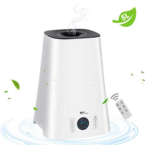 Amzdeal Luftbefeuchter - 5L Befeuchter mit Fernbedienung, Luftfeuchtigkeitsmonitor und einstellbar Timer,leise geeignet für Schlafzimmer,Büro, Baby Kinderzimmer