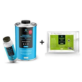 GFK-Set: 1 kg Polyesterharz Podorox P1 + Härter + 1 m² Glasfasermatte
