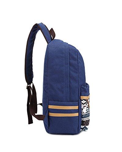 Schultasche Outdoor Freizeit Daypacks Backpack Mädchen Schulrucksack Damen Canvas Rucksack Schwarz Dunkles Bule1
