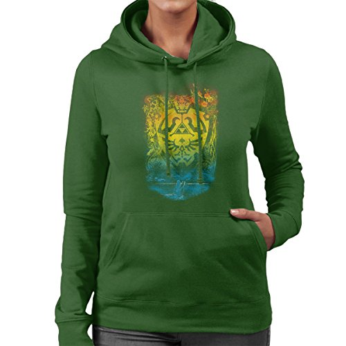 Legend Of Zelda Garden Of Wisdom Women's Hooded Sweatshirt Bottle Green