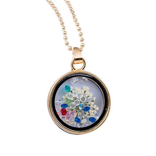 Collar de flores redondo con diamantes de imitación