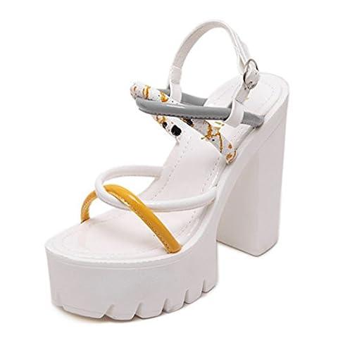 Women's Gladiator Open Toe High Heels Platform Outdoor Sandals white / US 8