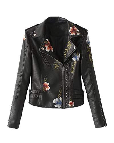 Chaqueta De Cuero PU Mujer Biker Abrigo De Solapa con Bordados De Flores Negro L