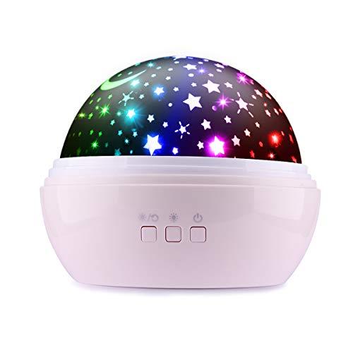 Sternenhimmel Projektor Lampe, Ifecco LED Nachtlicht Lampe 360° RotierendBeleuchtung mit 8 Romantische Licht, Perfektes Geschenk für Babys, Kinder, Geburtstag, Weihnachten, Halloween (Rosa)