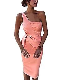 Mymyguoe Mujer Vestido Corto Elegante Mujeres Atractivas Forman el Vestido de Noche del Vestido asimétrico del