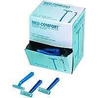100 una vez afeitadora MED-COMFORT, solo filo, azul, caja con 100 piezas.,.