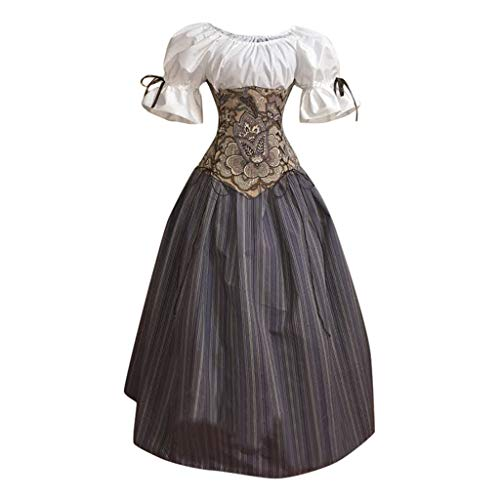 Lazzboy Frauen Mittelalterlichen Vintage Gothic Patchwork Lace Sexy Slash Neck Kleid Damen Verkleidung Kostüm Piratin Karneval Fasching Halloween(Grau,2XL) (Böse Meerjungfrau Kostüm)