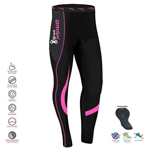 Brisk Bike Thermo-Radhosen Fahrradhosen Radsport-Leggings Fahrradhosen Radlerhosen gepolsterte Radhosen professionelle Radhosen Fahrradkleidung Mountainbike (Black/Pink, M)