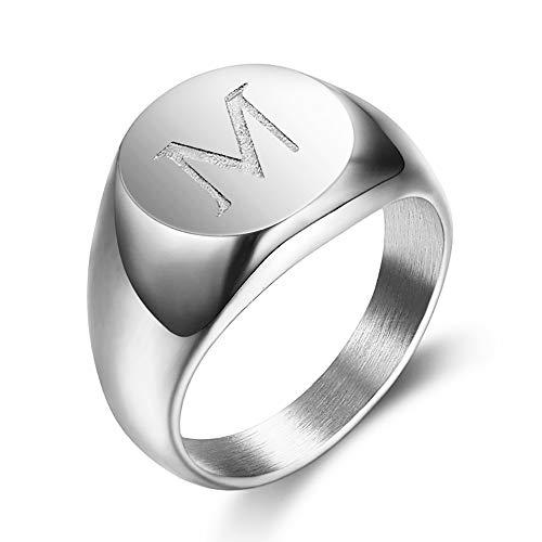 BOBIJOO Jewelry - Siegelring Ring Mann Ersten Eingraviert, wahlweise Edelstahl-Silber 13mm - 18,5 (8 US), M - 316 Stahl