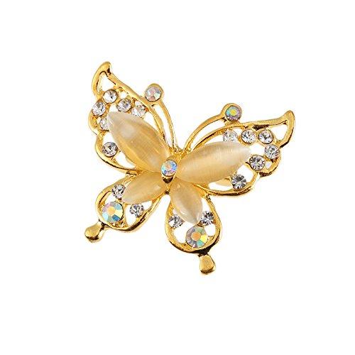 zoyolo Koreanische Version Von Diamant-verkrusteten Schmetterling Brosche Frauen Perle Großen Stift Pullover Pullover Trim golden -