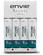 Envie ECR20+1000 Battery Charger with Rechargeable Batteries (White)
