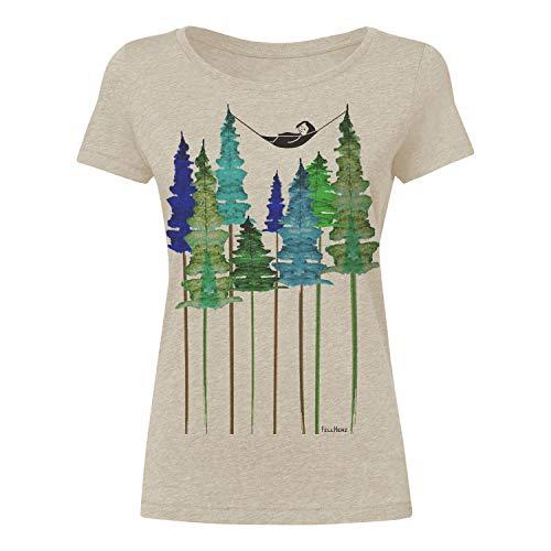 FellHerz Wood beige meliert - S - süßes Damen T-Shirt aus 100% Bio-Baumwolle Organic Cotton fair nachhaltig öko alternativ Mädchen Fee Hängematte Wald