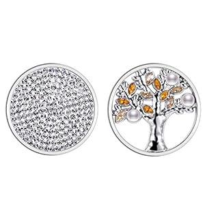 U&D Coins 33mm Kette Weißer Zirkon und Perle Lebensbaum Anhänger Ketten Edelstahl Damen Modeschmuck