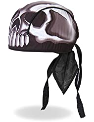 Authentic Bikers Premium Headwraps, SKULL HEAD - High Quality Micro-Fiber & Mesh Lining HEADWRAP