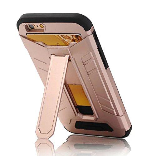 iPhone 7 Coque, Lantier Refroidir design multifonctionnel Slim Fit Protection Extreme Dual Layer couverture de portefeuille avec Béquille et fente pour carte pour iPhone 7 (4,7 pouces) Or Rose Gold