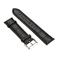 YOOMALL Standard Leather Watch Strap for Men and Women , Width 20mm / 22mm / 24mm, Polished Buckle, Abrasion Resistance, Antioxidant (22mm, Black-3)