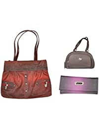 JHD Red Shoulder Bag With 2 Hand Bag Brown-Purple Set Of 3 Pcs Combo