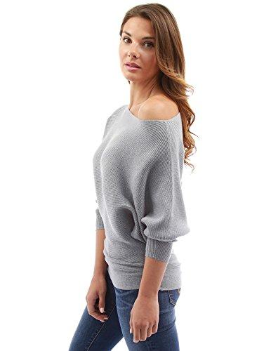 PattyBoutik Donne una spalla batwing coste maglione Grigio chiaro