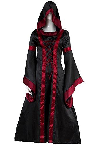 alter Kostüm Masquerade Kleid Halloween Cosplay Costume Damen Schwarz Bordeaux L (Vintage-kostüme Für Halloween)