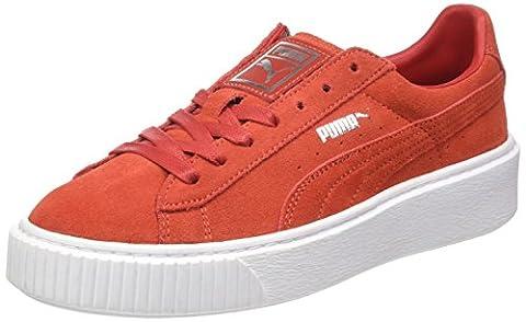 Puma Damen Suede Platform Sneaker, Rot (Barbados Cherry-Barbados Cherry-Puma White), 41 EU
