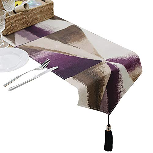 Chemins de table Table Runner - Polyester Cotton with Tassels, Ideal for Coffee Table Runner, Dining Table Runner, 11.8x 102 Inches (Couleur : Style-2, taille : 30X220cm)
