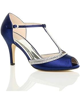 Donna tacco alto bridal t-bar peep toes con cinturino sandali scarpe numero