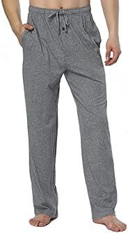 RENZER Men's Pajamas Pants 100% Knit Cotton Long Lounge Pants-Grey