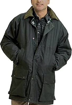 Countrywear New Mens Waxed Cotton Padded Quilted Jacket Branded Coat With Hood Outdoor Countryside Oiled Fishing Hunting Shooting Farming Riding Check Lining (Olive Large)