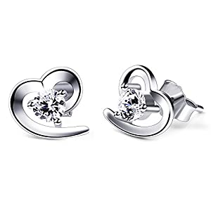 B.Catcher Herz Ohrringe Damen 925 Sterling Silber Ohrschmuck Ohrstecker Schmuck Geschenk für Damen