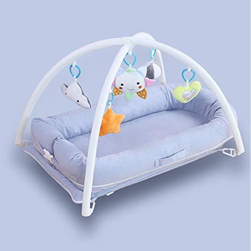 Mr.LQ Kinderbett waschen Baumwolle Bett Bett tragbare Krippe Spiel Bett Neugeborenen Imitation Uterus Latex Coir Matratze,Blue,920x530x160mm - Langsam Wachsen Lotion