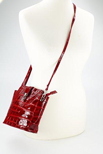 Belli, Borsa a tracolla donna Nero nero 18x20x8 rosso di vernice