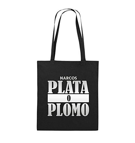 Comedy Bags - PLATA O PLOMO - NARCOS - Jutebeutel - lange Henkel - 38x42cm - Farbe: Schwarz / Pink Schwarz / Silber