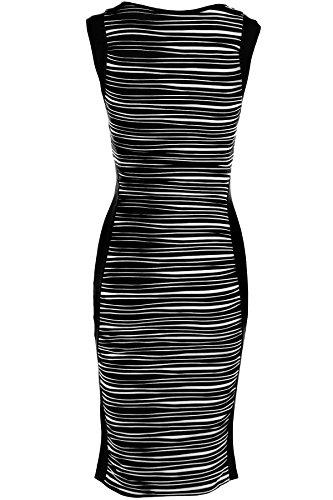Fantasia Boutique - Damen Aermellose Zebra Streifen Kariert Tartan Knielanges Midi Bodycon Kleid Schwarz und Weiße Streifen