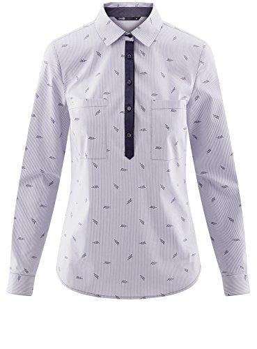 oodji Ultra Damen Druckhemd mit Kontrastbesatz Weiß (1079O)