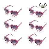 ONNEA 6 Pares Gafas de Sol Fiesta Forma de Corazón Neon Colores Paquete (Rosa 6-Pack)