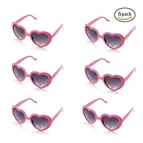 (Onnea 6 Neonfarben Herzform Party favorisiert Sonnenbrillen, Multi Packs (6-Pack Rosa))