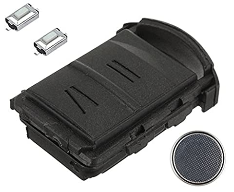 Vauxhall Opel DIY Repair Kit - Replacement Black 2 Button Remote Car Key Fob Case with 2 Tactile Micro Switches and Battery for Vauxhall Opel Agila Astra Combo Corsa Meriva Tigra Omega Cars and