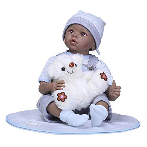 PINGJIA Voll silikon 55cm körper real Touch Baby lebensechte wiedergeborene Puppen realistische Neugeborene Puppe schwarz ethnisch schlafen Native Indian Style Xmas Gift,Blue,55cm