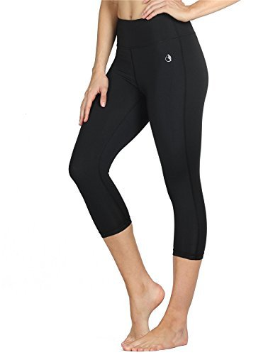 ggings Damen Sporthose Laufhose - Hohe Taille Training Tights Yoga Hosen Capri (M, Black) ()