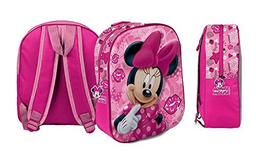 Zaino minnie mouse 3d tridimensionale borsa scuola asilo - dimensioni:31x26,5x10 cm. - 54690