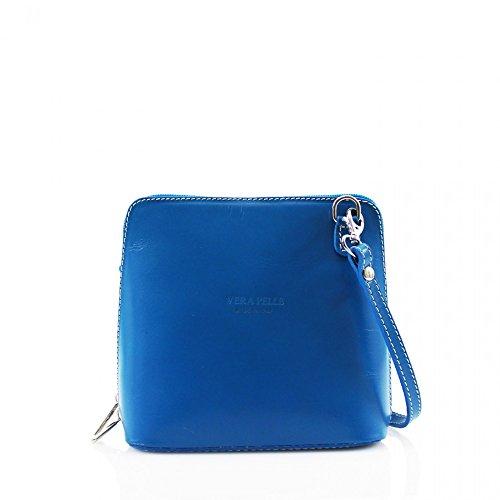 Da donna Fashion Designer piccola borsa a tracolla in pelle italiana di qualità cwv0026 Blu