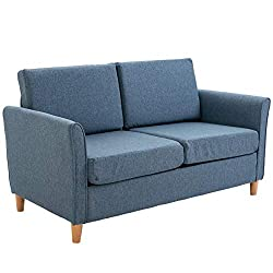 HOMCOM Linen Upholstery Double Seat Sofa Compact Loveseat Couch Living Room Furniture 2 Seater Armrest Blue