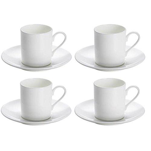 Maxwell & Williams 4er Set Espressotassen mit Untertasse Cashmere Round weiß Cashmere Bone China