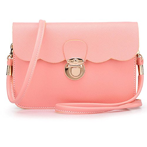 Culater® New Women Retro Mini In Ecopelle Color Caramella Borsa A Tracolla Color Rosa