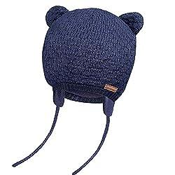 JOYORUN Unisex - Baby Mütze Beanie Strickmütze Unifarbe Wintermütze Navy Blau 38-42cm (Hersteller Größe: S)