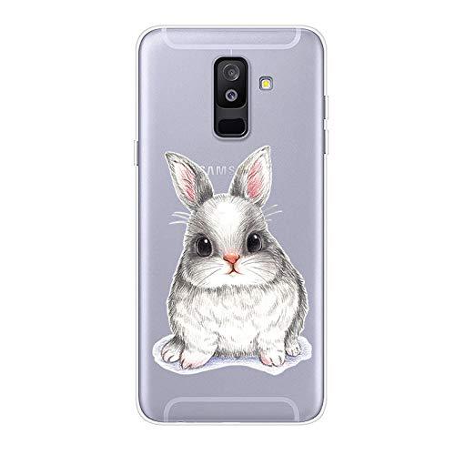 Uposao Kompatibel mit Samsung Galaxy A6 Plus 2018 Hülle Crystal Case Schutzhülle Hülle mit Muster Motiv Transparent TPU Silikon Durchsichtig Stoßfest Handyhülle Backcover Tasche,Kaninchen