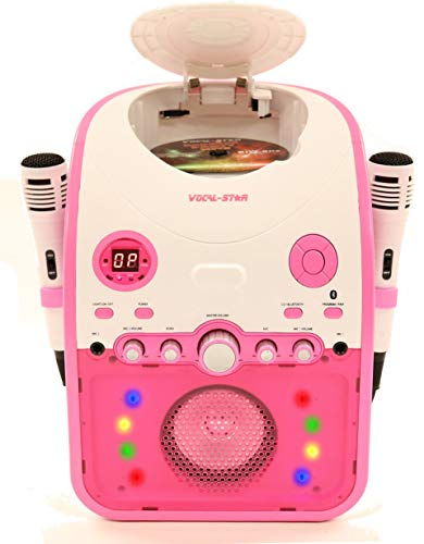 Vocal-Star Pink PartyBox CDG CD Bluetooth Karaoke Machine With 2 Pin EU plug With Led Light Effect 2 Microphones & 40 Songs (english manual)