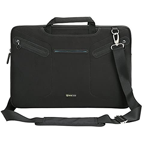 EveCase Maletín Mensajero para Laptops, PC Portátiles, Tablets de 17.3 pulgadas - Estuche con manijas y correa de hombro, Bolsillo con cremallera para Mackbook / Laptops / Chromebooks
