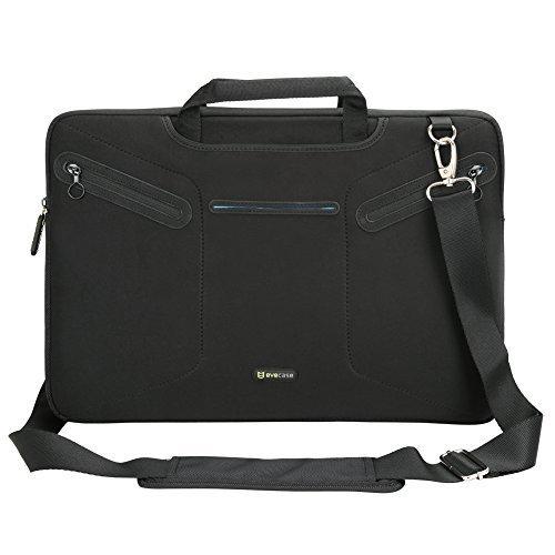 """Notebooktasche 17.3"""", Evecase 17.3 Zoll Universal Laptop Schutzhülle Aktentasche mit Neopren Außenmaterial, Verdeckbare Griffe, Zubehörfächer für Notebook MacBook Ultrabook Tablet Lenovo Asus Acer - Schwarz"""