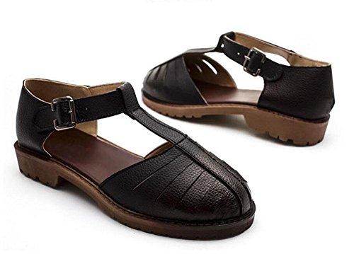 Scarpe piane Summer Mary Jeans Sandali Retro colore Hollow grandi dimensioni scarpe 40/41/42/43 black deluxe